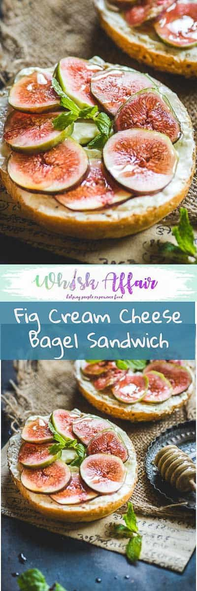 Fig Cream Cheese Bagel Sandwich is a quick to make breakfast option. Drizzled with honey, it's very tempting to eat.  #Breakfast #Bagel #Sandwich via @WhiskAffair