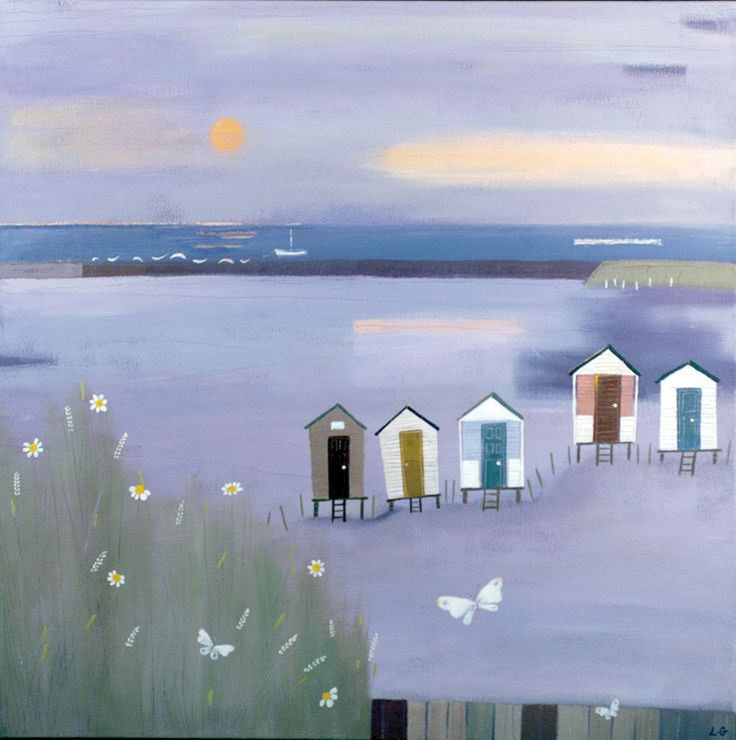 Beach huts, evening light, Norfolk coast - Lucy Grossmith