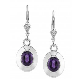 Sterling Silver Arizona Four Peaks Amethyst Dangle Earrings by Sami Fine Jewlery