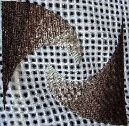 The first colourway of the first quadrant of Twister (a fabulous needlepoint design by Patricia Spencer). The unstitched part will be in shades of green.
