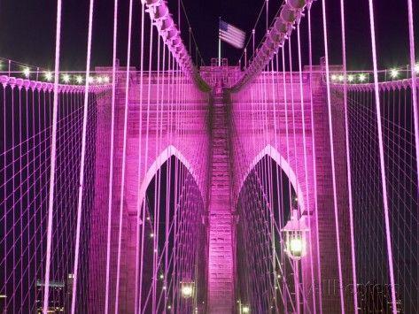 Brooklyn Bridge Lit Purple Photographic Print by Alan Schein at AllPosters.com