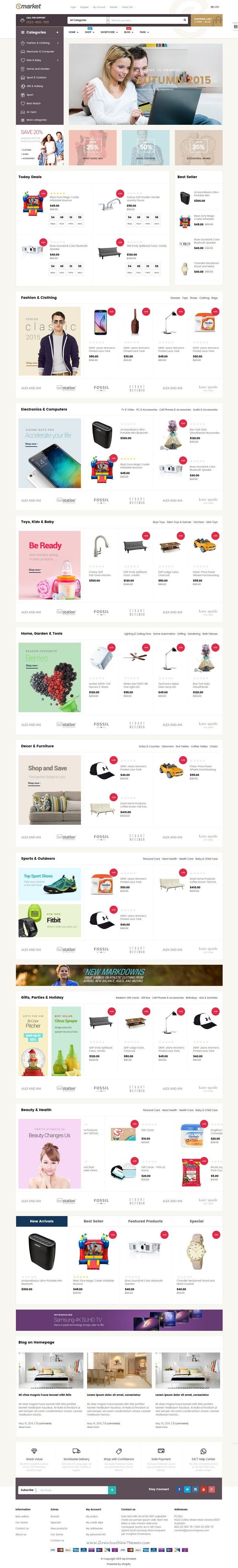 Emarket is multipurpose shopify theme for stunning eCommerce website. #onlineshop #template #webdesign Download Now!