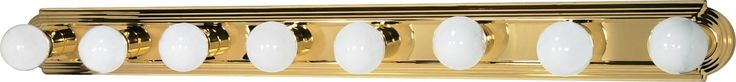 8-Lights Vanity Light Bar Racetrack Style in Polished Brass Finish