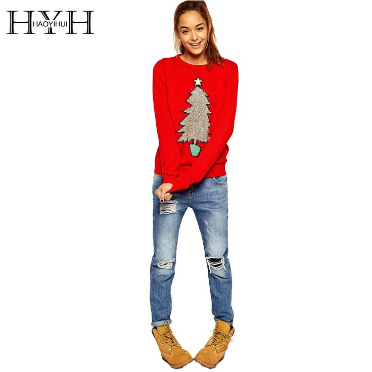 HYH HAOYIHUI 2016 New Fashion Autumn Women Christmas Tree Print Preppy Style Full Sleeve Tops O Neck Red Knitted Sweater