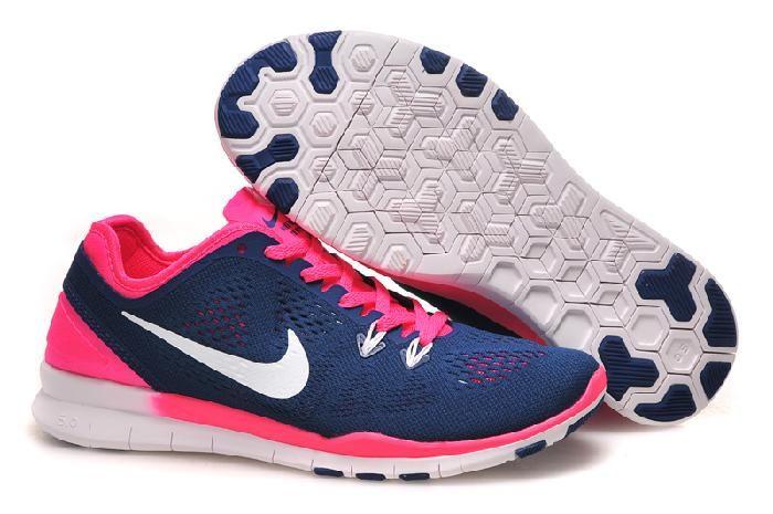 Billige Nike Free 5.0 Flyknit Mørk Blå Online Sko Dame Red