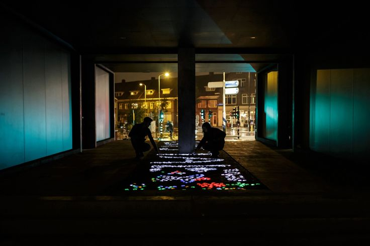 "CRYSTAL features hundreds of crystals of light which brighten when you touch them. People can play and share their stories of light.   The artist Daan Roosegaarde calls them ""Lego from Mars""."