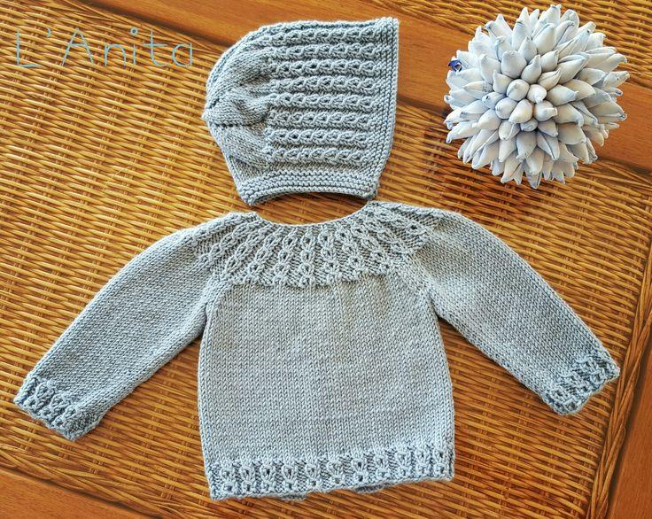 Conjunto tejido con lana merino para recién nacido. L'Anita