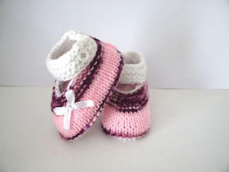 Babies chaussons bébé ballerines naissance 0/3 mois blanc rose prune chaussures petits noeuds : Mode Bébé par sweet-creas
