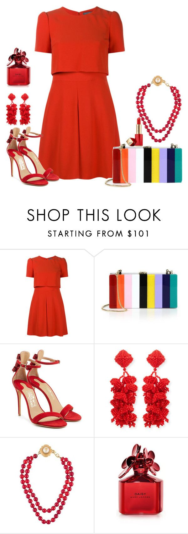 """Rainbow Bags #2"" by ann-kelley14 ❤ liked on Polyvore featuring Alexander McQueen, Milly, Salvatore Ferragamo, NOIR Sachin + Babi, Chanel, Marc Jacobs and Estée Lauder"