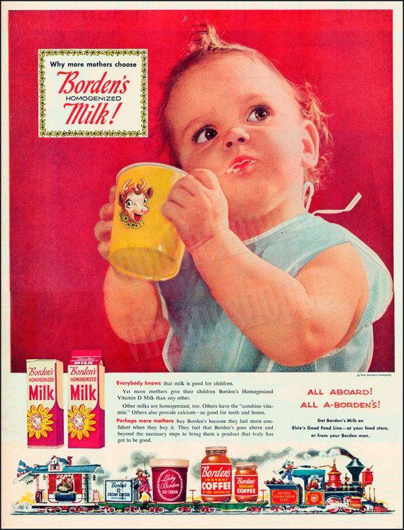 BORDEN'S MILK Vintage Ad from 1954 // Elsie the Cow Art // Retro Baby Ads