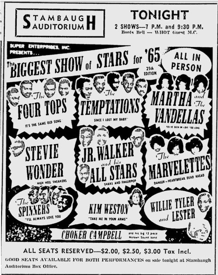 1965 Motown Concert Poster — The Four Tops, The Temptations, Martha & The Vandellas, Stevie Wonder, Jr. Walker & The All-Stars, The Marvelettes, The Spinners, Kim Weston, Willie Tyler & Lester