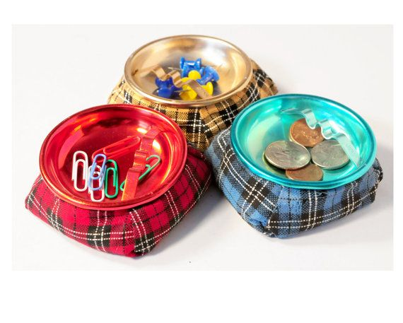 Mid Century Modern Ashtray, Artic Safety Set of 3 in Original Box, Plaid, Anodized ,Coin Holder, Office Decor, Jewelry Holder, Made in Japan