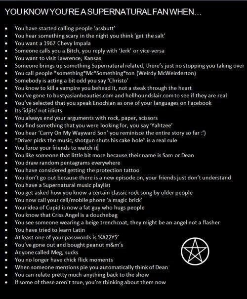 You know you're a supernatural fan when...  Hahaha so true!!! I love this list!
