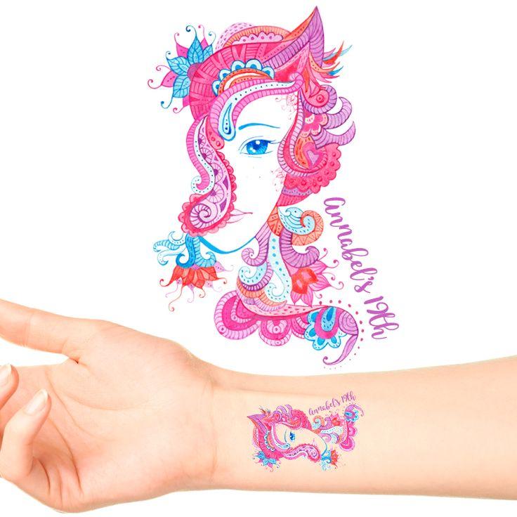 Boho Girl Birthday Temporary Tattoos #1087 (20 pack)