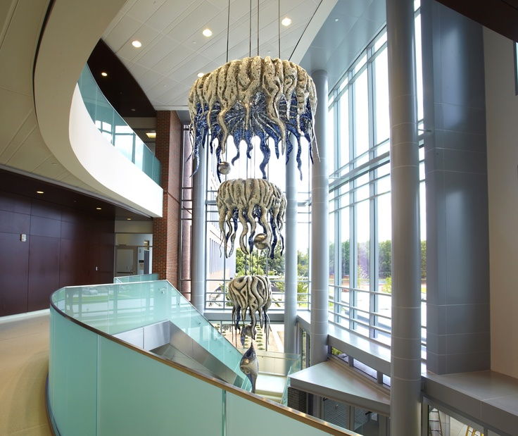 Installer Designer Paul Pearman Project Mosaic Chandelier For Georgia Health Sciences University College Of Dental Medicine Augusta GA