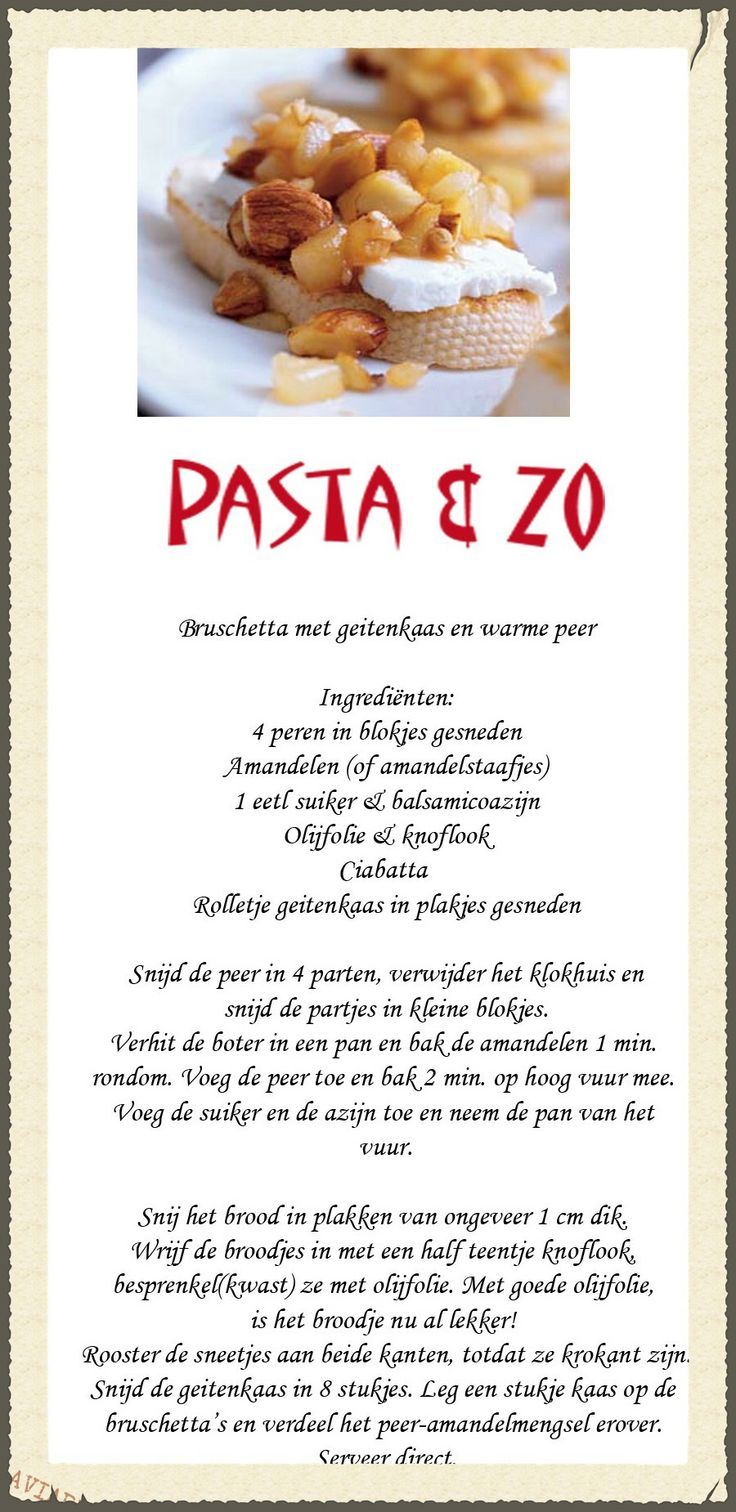 Recept voor Bruschetta met geitenkaas en warme peer