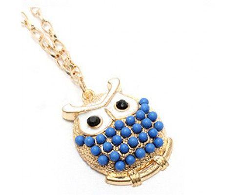 Sovičkový prívesok zdobený modrý