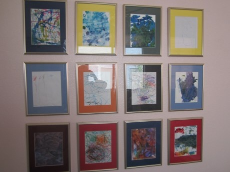 Keep 12 matted frames on the wall, one per month, and switch out your child's artwork when the month comes around again.  Fabulous for the mom-of-two who might actually have space for 24 frames somewhere on her walls!  From The Wish To Find Out.