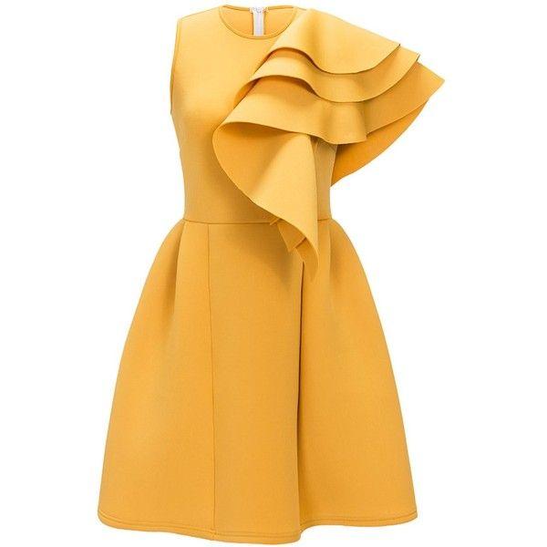 Ruffle Sleeveless Cocktail Dress ($25) ❤ liked on Polyvore featuring dresses, ruffle cocktail dress, frilly dresses, yellow dresses, flutter-sleeve dress and flounce dress