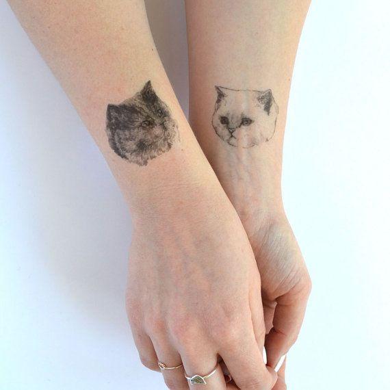 cat tattoo temporary tattoo ONE 1 single fake by helloharriet