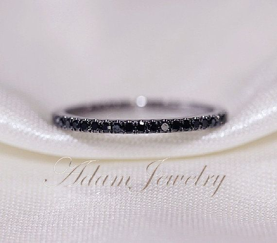 0.25ct Black Diamond Wedding Band 14k White Gold Half Eternity Band/  Engagement Ring/ Wedding Band/ Matching Band/ Thin Design