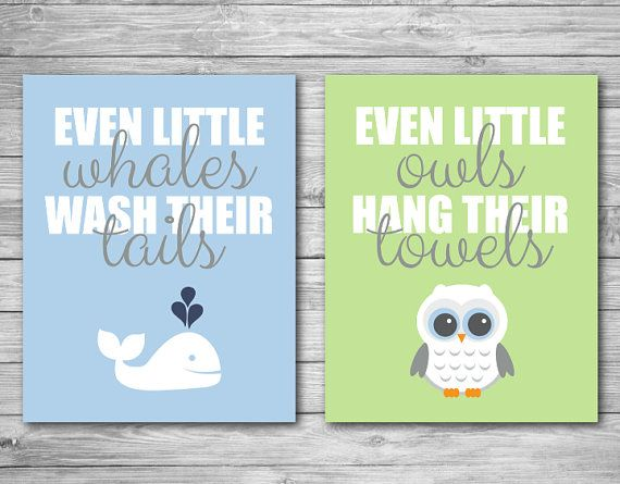 Wall Art Print  Whale Owl Bathroom Child Baby Kid by CeceandCoco