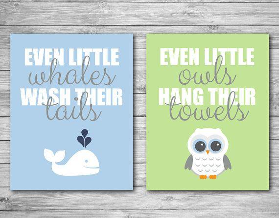 Wall Art Print - Whale Owl Bathroom Child Baby Kid Prints Wash Tail Hang Towel Decor Blue Green 8 x 10