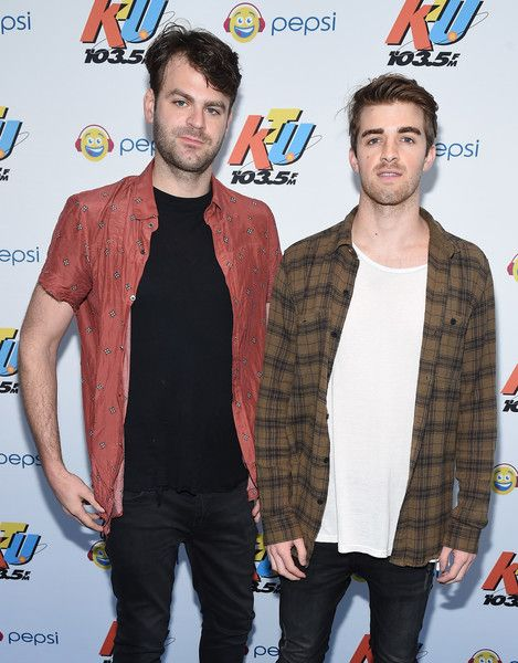 (L-R) Music artists Alex Pall and Andrew Taggart of the band The Chainsmokers pose at 103.5 KTU's KTUphoria 2016 presented by Aruba, at Nikon at Jones Beach Theater on June 4, 2016 in Wantagh, NY.