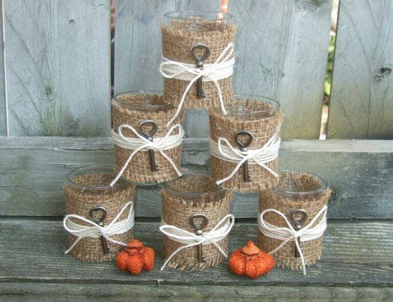 Rustic Wedding Decor / Burlap Wedding Votive Candle Holder / Skeleton Key  Wedding / Country Wedding / Autumn Wedding / Rustic Home Decor /6