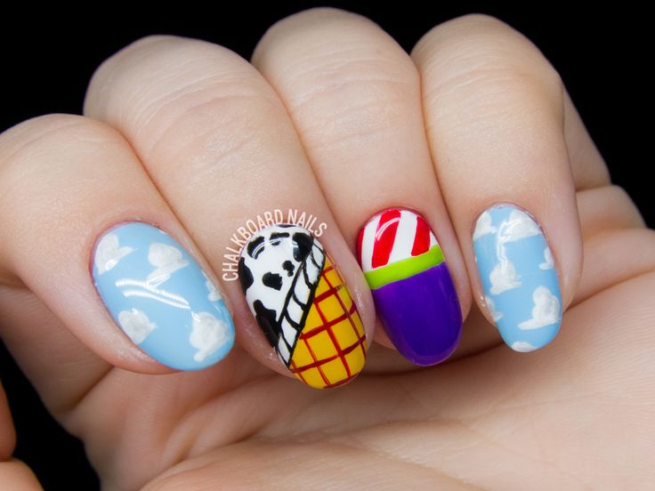 Toy Story nail art by Chalkboard Nails