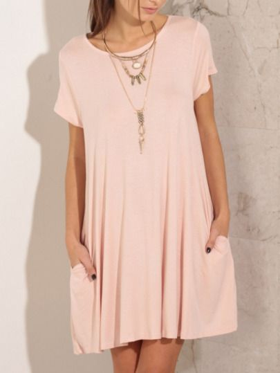 Pink Short Sleeve Pockets Loose Dress - Sheinside
