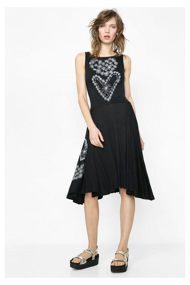 Vestido con falda asimétrica y plisada | Desigual.com 2000