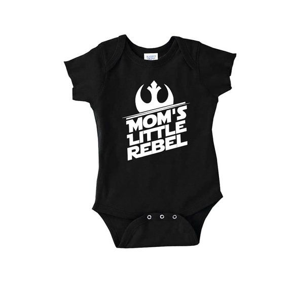 Moms Little Rebel (star wars themed) onepiece snap bottom. A must have for any star wars fans out there with little kids. Makes a great Christmas