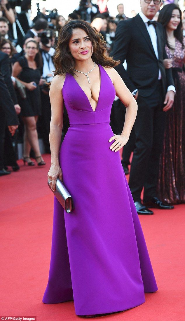 Pretty in purple: Salma Hayek looked sensational in a bold gown as she attended the Carol premiere at the 68th Cannes Film Festival on Sunday