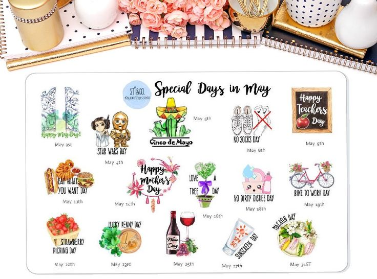 Special Days in May, Wacky Holiday Stickers for May , Erin Condren, Happy Planner, Personal Planner & many More! by StiandCo on Etsy https://www.etsy.com/listing/477598944/special-days-in-may-wacky-holiday