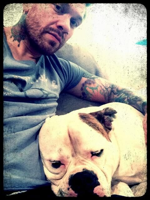 Brent Smith and his American Bulldog,Belle. <3