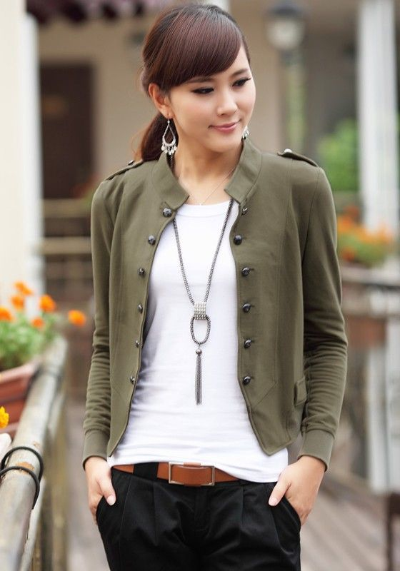 Khaki LOVE! Army Green Khaki Military Style Plain Buttons Wrap Cotton Blend Jacket #Army_Green