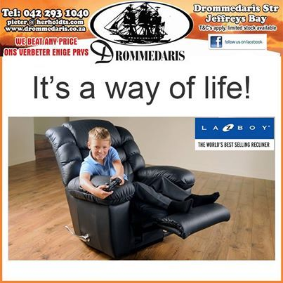 It's Friday once again! What better way can you think of relaxing this weekend than in your new La-Z-Boy recliner, purchased from Drommedaris? We have the full range of fabrics and colors to choose from. It's a way of life. Don't forget our competition, which ends this week. Simply click http://on.fb.me/1iQ0K5X and you could be a winner this Valentines day.