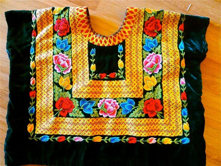 Mexican Embroidered huipil blouse & skirt Tehuana Green Velvet Collectors Vintage Frida Style. $725.00, via Etsy.