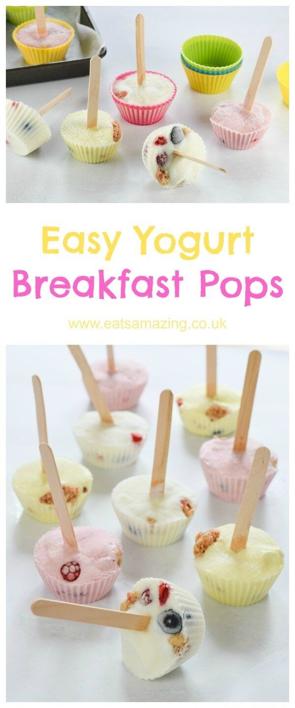 Super easy and healthy frozen breakfast pops - no popsicle mould needed for this easy snack recipe for kids from Eats Amazing UK
