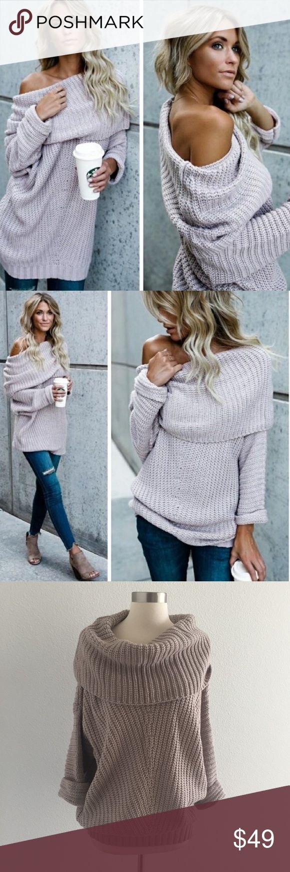 """Umgee Chunky Knit Off Shoulder Sweater Light Mauve Pair with jeans and boots and a long necklace that can be seen from under the fold. Has an oversized, slouchy fit. Can be worn off the shoulder or as a cowl neck. Folded sleeves. Banded bottom. Color: light mauve. Material: 65% cotton, 35% polyester. Measurements laying flat: Approx 24"""" across bust, 28"""" length. New with tag! Umgee Sweaters Cowl & Turtlenecks"""