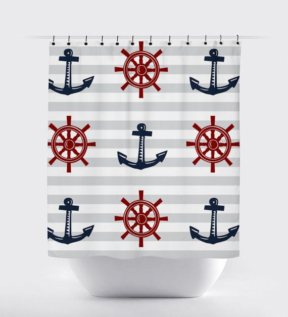 red blue gray nautical shower curtain, modern shower curtain, anchor shower curtain, nautical bathroom high quality fabric curtain