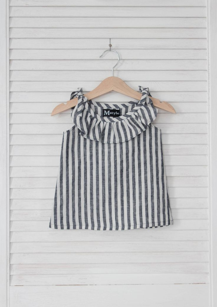 5d6b6f7ed004d This gorgeous baby blouse is made of natural soften linen material.  Handmade striped baby girl