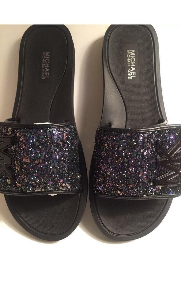 7d0c1de98bc3 Michael Kors MK Slides Black  Multicolor Glitter Sandals New Without Box  Size 8  fashion  clothing  shoes  accessories  womensshoes  sandals (ebay  link)