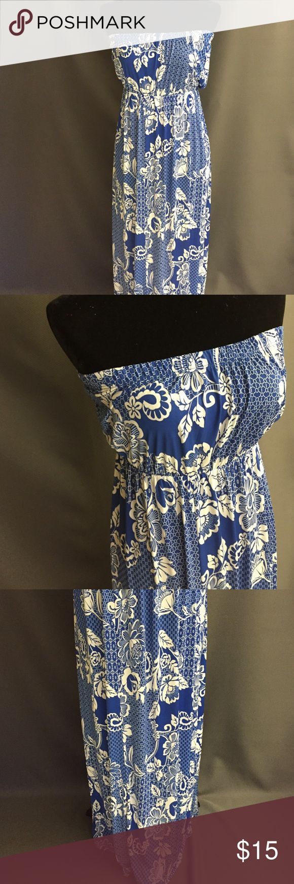 """Strapless royal blue and white maxi dress Blue and white maxi dress .  Features flower print.  Length: 50""""  Available sizes: large  Material: Polyester / Spandex  ❤️Add to bundle and save ✖️ No Paypal or outside transactions Dresses Maxi"""