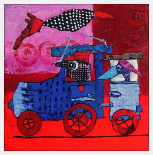 Elke Trittel acrylic,collage on board 20x20cm