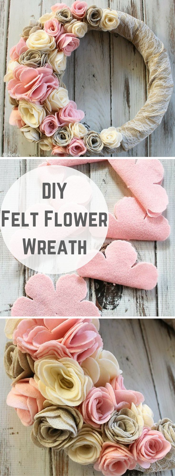 DIY Felt Flower Wreath -Tutorial by Michelle's Party Plan-It. Rustic wreath made with felt flowers, burlap and lace.