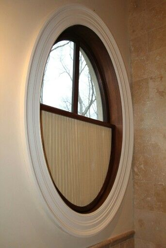 Oval window covering home ideas pinterest oval for Window treatment for oval window