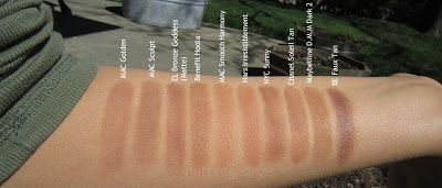 Bronzers -  Maybelline Dream Matte Mousse Foundation in the shade Caramel Dark 2 isn't exactly a bronzer, but a mousse foundation for deep skintones. I purchased it to use a bronzer and it works really well. The color is a golden yellow brown and it blends beautifully. I use it as a contour or lightly all over if my foundation is a little light.