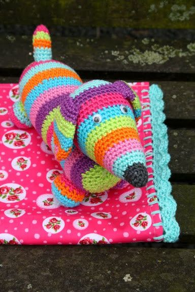 Crochet dachshund toy via Etsy